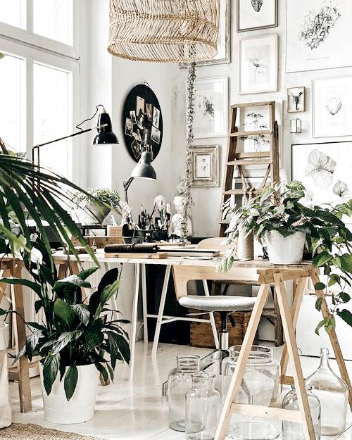 werkplek, workspace, home office, kamerplanten, inspiratie, thuiswerken, thuiskantoor, inrichten, ideeën