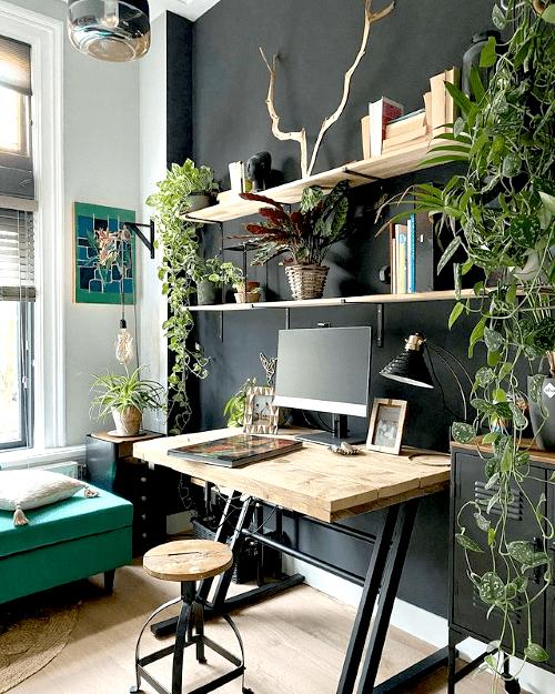 thuiswerkplek, werkplek, workspace, home office, plantstyling, kamerplanten, inspiratie, thuiswerken, thuiskantoor, inrichten, ideeën