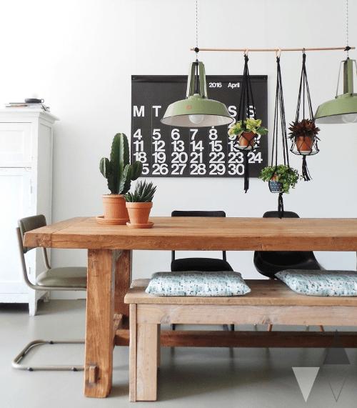 plantstyling, inspiratie, eethoek, plantenhemel, macramehangers, hangplanten, planten boven eettafel
