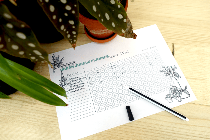 Urban Jungle Planner, water geef planner, overzicht, water geven, vergeten, planten planner